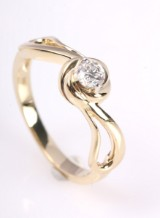 Brilliant-cut diamond ring from FHP, 14 kt. gold, 0.25 ct.