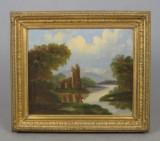 Unbekannter Künstler, Öl auf Leinwand, 'Angler am Fluss', 19. Jh.