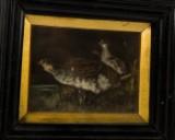 August Schlaich Rauchbild Rebhühner, Miniaturmalerei in Öl
