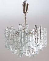 Ice glass hanging lamp/chandelier, 1960s/1970s, for Kalmar Franken KG