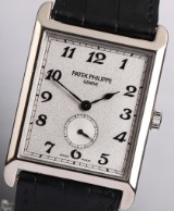Patek Philippe 'Gondolo'. A large men's watch, 18 kt. white gold, separate seconds, c. 2004