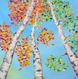 Lena Smirnona, akryl på lærred, 'birketræer'