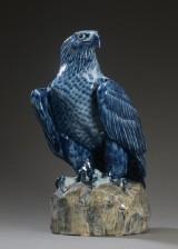 Vilhelm Th. Fischer for Royal Copenhagen. Large porcelain figure, eagle on rock