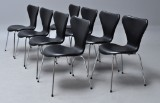 Arne Jacobsen. Eight Series 7 chairs, model 3107, black leather (8)