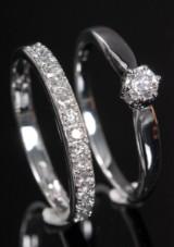 Par brillant ringe, 14 kt rhodineret guld, 0.46 ct. (2)