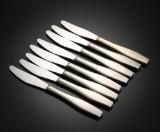 Hans Hansen 'Charlotte' otte frokostknive med skafter af sterlingsølv(8)