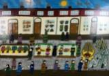 Minna Ennulat, painted enamel on hard fibre board, Christmas market
