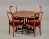Rundt salonbord med fire stole, 1800-tallets slutning (5)
