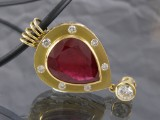 Pendant featuring 1 synthetic ruby and brilliant-cut diamonds approx. 1.67 ct.