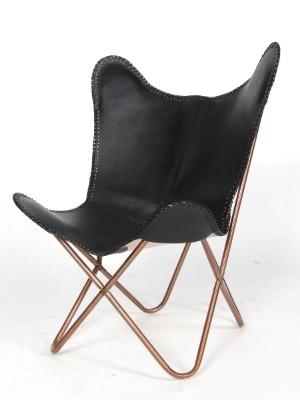 Batchair / Flagermus lænestol, sort skind - Dk, Esbjerg, Oddesundvej - Bat chair / Flagermus-stol med rørstel af kobberfarvet lakeret stål, betræk af sort læder. SH. 36 cm. H. 98 cm. - Dk, Esbjerg, Oddesundvej