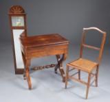 Empire spejl og Louis Philippe spillebord samt stol 1800-tallet (3)