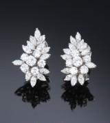 A pair of diamond earrings, 18 kt. white gold, total approx. 4.00 ct. Late-20th century (2)