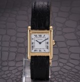 Cartier 'Tank'. Vintage ladies watch, 18 kt. gold with folding clasp, 18 kt. gold, c. 1980s