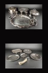 Samling fade mm., af sølvplet og sølv (17)