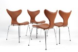 Arne Jacobsen. Four chairs, the 'Lily', model 3108, cognac-coloured leather (4)
