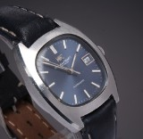 IWC Schaffhausen. Vintage men's watch, steel, with blue dial with date, c. 1970