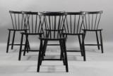 Poul M. Volther. Seks stole i bemalet bøg. (6)