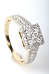 Diamond ring, FHP, 14 kt gold, approx. 1.01 ct.