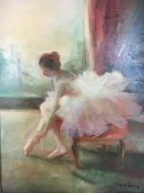 Miloslava Vrbova-Stevkova, oil on canvas, dancer lacing up her ballet shoes