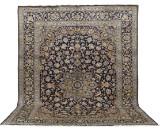 Carpet, a large figural blue Keshan, 438 x 322