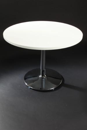 Vare: 3593700 rundt spisebord, hvid 28 mm melamin på trompetfod i krom