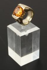Citrin-/diamantring i guld