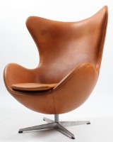 The Egg, cognac aniline leather. New upholstery