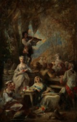 French painter, 18th century. A company of young people under the open sky