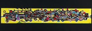 Juan Carlos Fierro. 'Yellow Haze' - Dk, Vejle, Dandyvej - Juan Carlos Fierro (f. 1973, Columbia). 'Yellow Haze', 2018, mixed media på lærred, sign. Fierro 18 DK. 30 x 180 cm. Uden ramme. Fremstår med reparation foretaget af kunstneren før billedet blev malet. Læs kunstnerprofil her - Dk, Vejle, Dandyvej