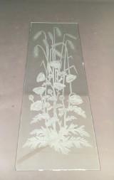 Zwei große Unikatglasscheiben mit floralen Zeichnungen Mohn, Ähren und Disteln (2)