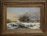 Andreas Schelfhout. Winter scene with skaters on a stream