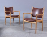 H. J. Wegner. Pair of oak armchairs (2)