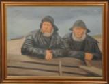 H. C. Lund (kopi efter Michael Ancher), olie på lærred, to fiskerre ved en båd