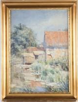 Carl Martin SOYA-JENSEN, akvarell, motiv med kvarnbyggnader