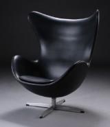 Arne Jacobsen, The Egg, lounge chair, black Skai