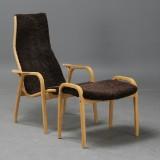 Yngve Ekström, lounge chair, 'Lamino' with ottoman, brown sheepskin