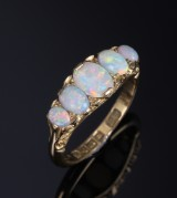 English ring, 18 kt. gold, with five opals, Chester 1912