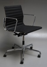 Charles Eames. Office chair, model EA-117, black leather, chrome, new generation