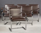 Ludwig Mies van der Rohe, set of 6 chairs / cantilever chairs, model 'Brno MR50', Knoll International (6)