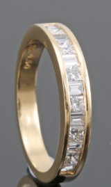 18kt princess and baguette-cut diamond wedding ring approx. 0.50ct