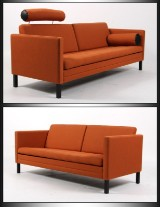 Mogens Hansen. Three and two-seater sofa. Anniversary models in orange. (2)
