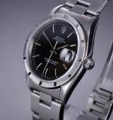 Rolex Date. Vintage men's watch, steel, with black dial, c. 1997