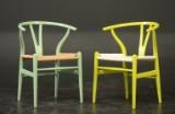 H. J. Wegner. Two Wishbone chairs, varnished beech (2)