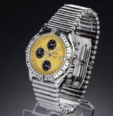 Breitling 'Chronomat Longitude'. Men's chronograph, steel with yellow dial with date