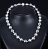 Tahitian cultured pearl and diamond necklace. Pearl Ø approx. 12.83 -14.54 mm. L. 49 cm