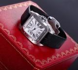 Cartier 'Santos 100'. Men's watch, steel, with original strap and clasp