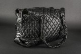 Chanel. Shoulder bag / Tote. Distressed black sheepskin. Model Ligne Lady Braid XL