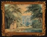 Vilhelm Pedersen. Landskab med unge kvinder og svaner, ca. 1849