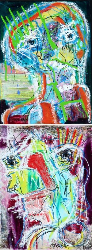 Susanne Hoeg Butcher. Kompositioner (2) - Dk, Vejle, Dandyvej - Susanne Hoeg Butcher (f. 1966). Kompositioner, akryl på lærred. Sign. S.H. Butcher. Begge er 40x30 cm. Uden rammer. - Dk, Vejle, Dandyvej
