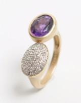 Kranz & Ziegler - Ring med ametyst og brillanter, 14 kt. guld